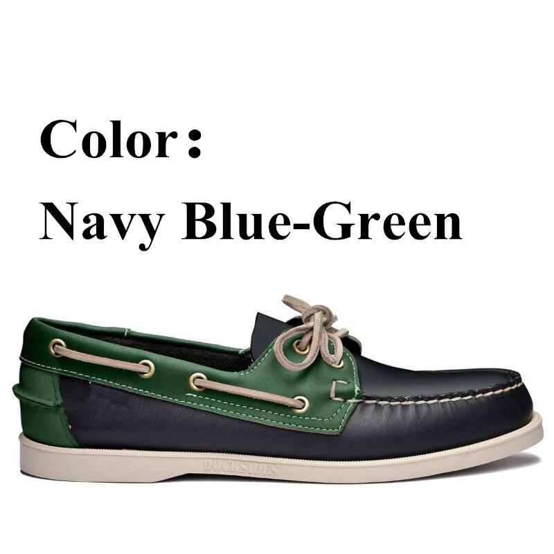 Men Genuine Leather Docksides Classic Boat Shoes,Men Designer Sneakers For Hommme Femme Navy Blue Green  Loafers Y007