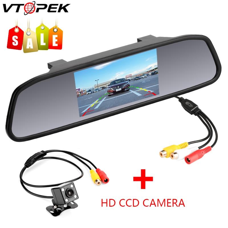 Espejo retrovisor HD para coche de 4,3 pulgadas, CCD, vídeo de asistencia de estacionamiento para coche, LED de visión nocturna, cámara de visión trasera de marcha atrás, cristal transparente