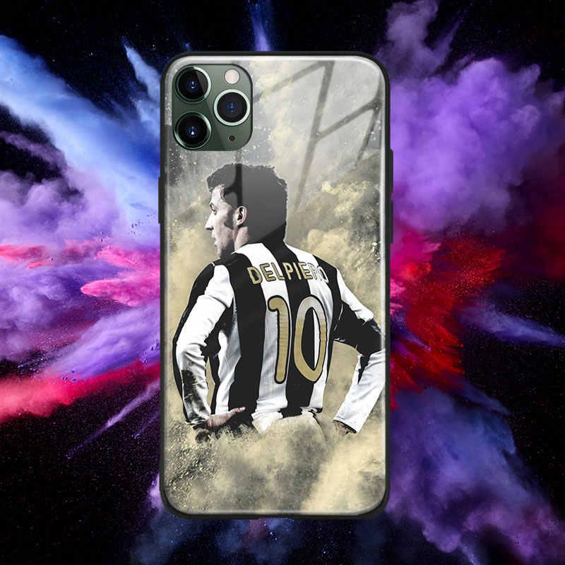 Alessandro del Piero design Glass Soft Silicone Phone Case Cover Shell For iPhone SE 6s 7 8 Plus X XR XS 11 12 mini Pro Max