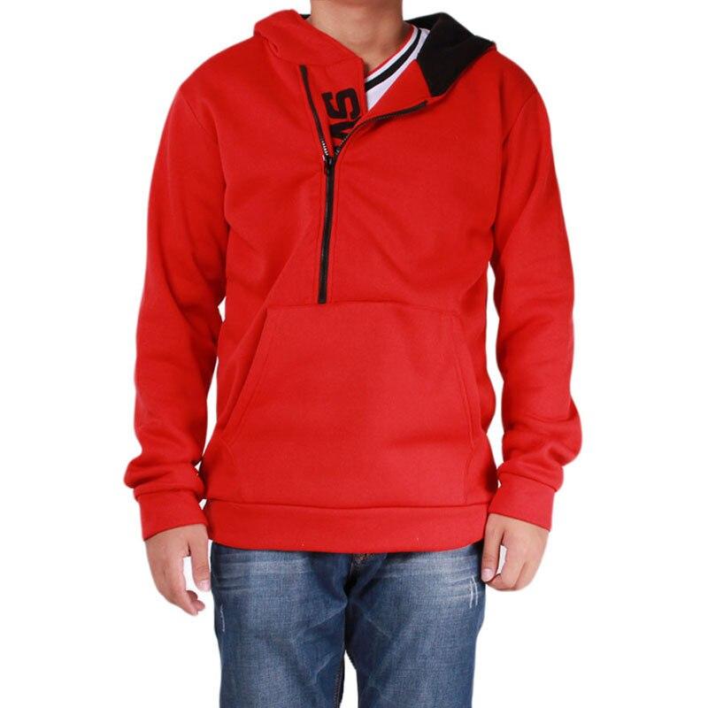 Мужские футбольные майки на молнии с буквенным принтом, мужская верхняя одежда на осень и зиму, мужская спортивная одежда, толстовки для фитнеса, верхняя одежда 4XL - Цвет: Red