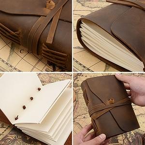 Image 2 - Caderno de couro genuíno artesanal diário 5x7 polegadas papel environmetal vintage caderno encadernação diário para homem e mulher