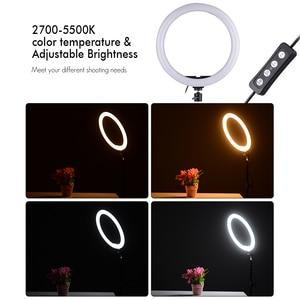 Image 4 - Andoer 10cm/11.8inch 5500K 24W 360 LED Ring Light Kit Photographic Light Studio/Phone/Video Photography Lamp with Phone holder