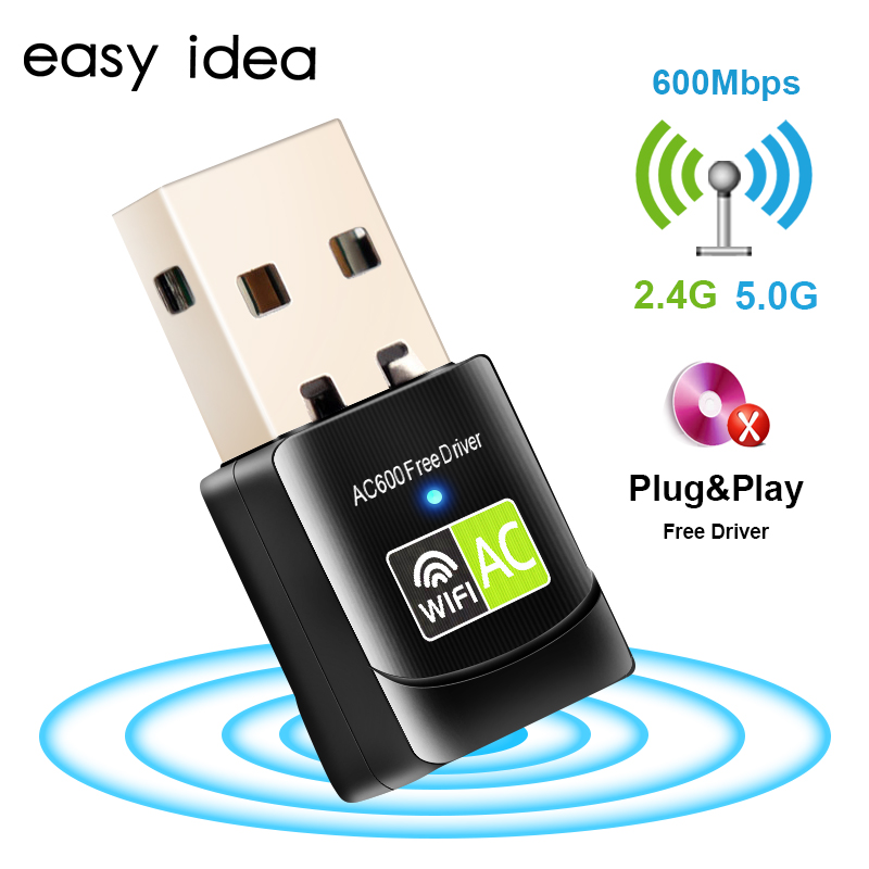 Wireless USB Wifi Adapter AC 600Mbps Wi-fi Adapter 2.4G 5G Network Card Antenna Wi fi Receiver Lan USB Ethernet PC Wifi Dongle(China)