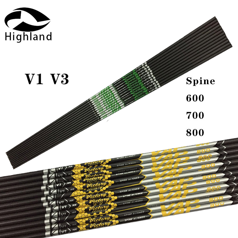 12PCS V1 V3 Sp600-900 ID 4.2mm 12pcs Archery Bolts Pure Carbon Arrow Shaft For Hunting Recurve Bow Compound Shaft DIY