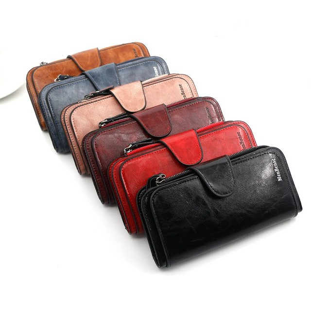 Women's wallet made of leather Wallets Three fold VINTAGE Womens purses mobile phone Purse Female Coin Purse Carteira Feminina 4