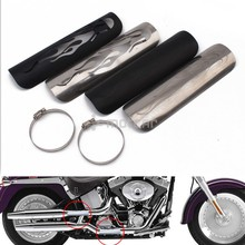 for Cruiser Chopper Kawasaki Yamaha 1set Chrome/Black 9 inch Flame Style Exhaust Muffler Pipe Heat Shield Cover Guard protector