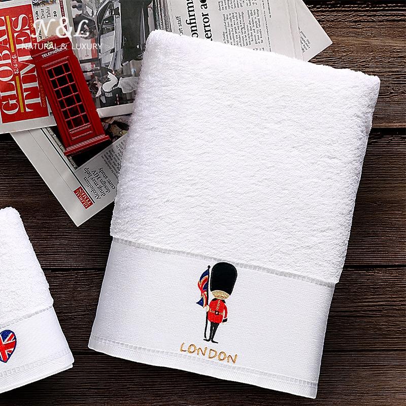 Londres luxe hôtel serviette de bain coton blanc 3 pièces ensemble serviettes salle de bain boîte cadeau adulte doux dessin animé grande serviette absorbante 6MM85