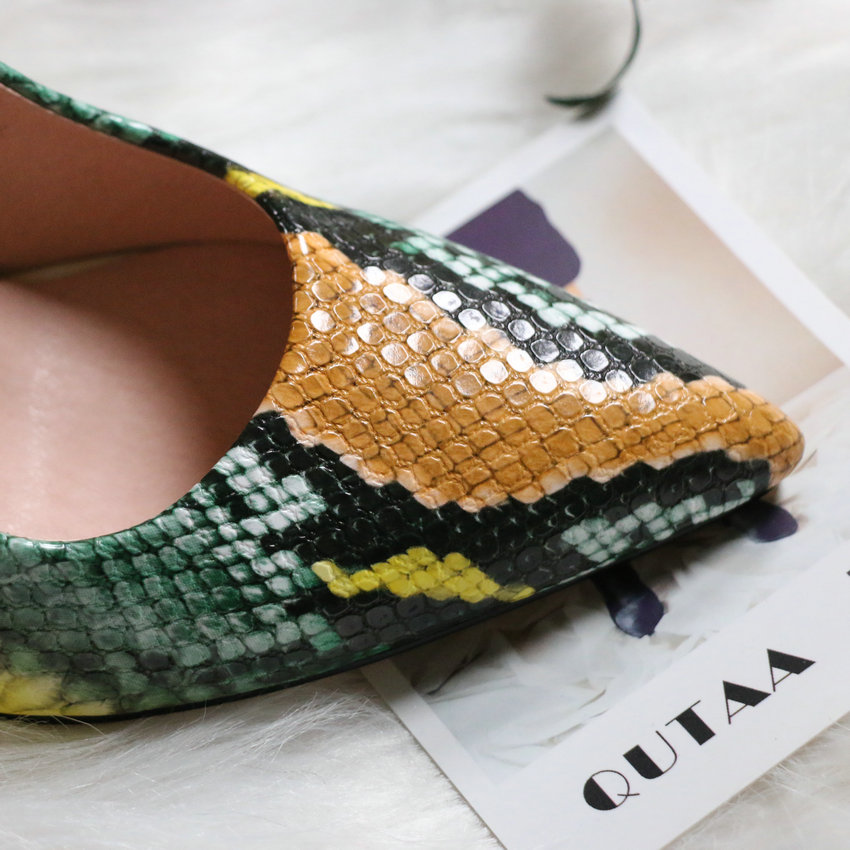 Closeout Deals¢QUTAA Shoes Women Pumps Snakeskin Stilettos-Size Pointed-Toe High-Heels Sexy Fashion