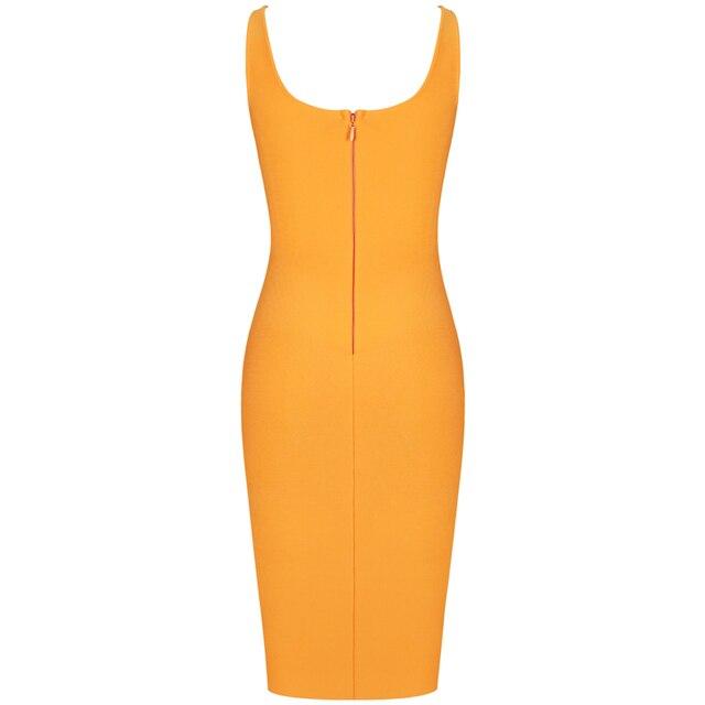 New Kendall Jenner Celebrity Bandage Dress Women Draped Orange Midi Bandage Dress Bodycon Sexy Evening Party Dress 5
