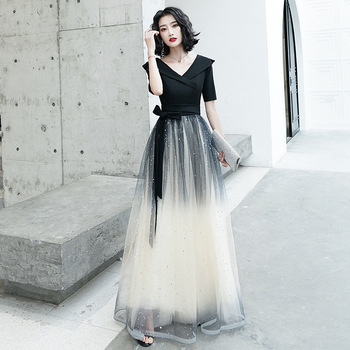 Patchwork A-Line Evening Dresses CR325 V-Neck Half Sleeve Women Party Dress Black Gradient Formal Gowns Sequin Robe De Soiree