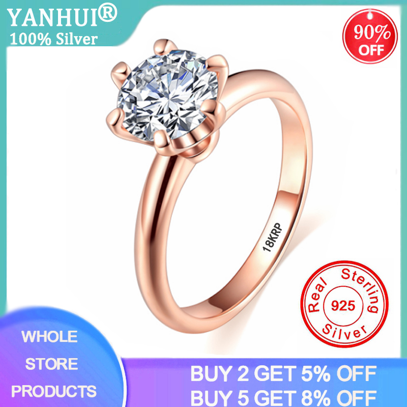 YANHUI Luxury Solitaire 2.0ct Silver Wedding Ring Original 18K Rose Gold Color Zirconia Diamond Engagement Ring For Women R170