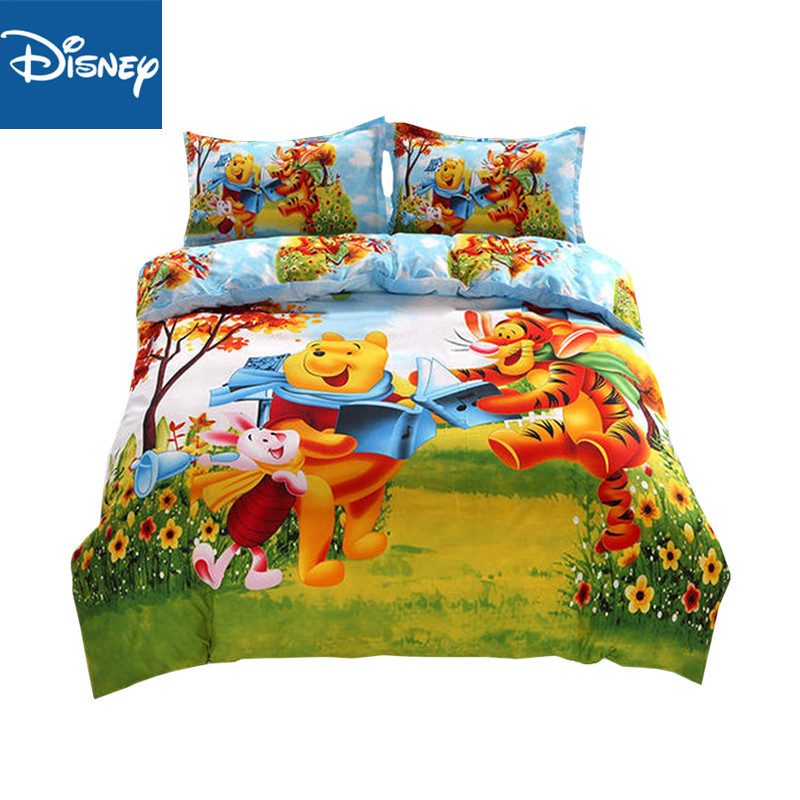 Disney Winnie The Pooh Bedding Set Kids 3d Bed Sets Duvet Cover Set For Boy Girls Flat Sheet Queen Size Home Textile 4/5pc