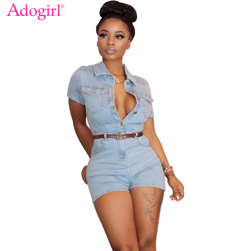 Adogirl Fashion Casual Jeans Jumpsuit Women Sexy Buttons Up Turn Down Collar Short Sleeve Denim Playsuit Shorts Romper Overalls