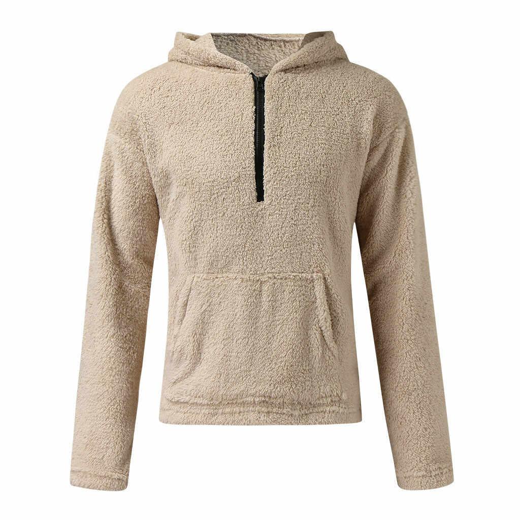 Feitong 남자 테디 재킷 코트 캐주얼 가을 겨울 지퍼 느슨한 양면 플러시 따뜻한 streetwear 후드 탑스