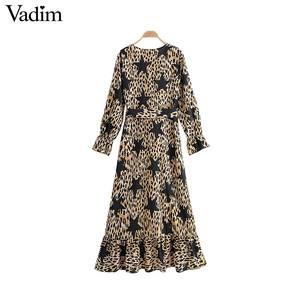 Image 2 - Vadim donne stella della stampa del leopardo del vestito modello animale manica lunga telai di moda femminile casuale di lunghezza del ginocchio abiti abiti QD091