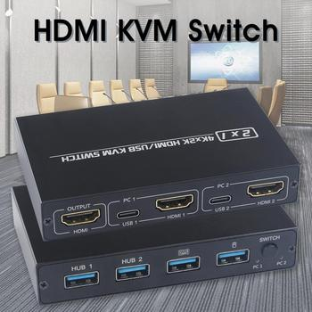 HDMI KVM Switch 2 Ports for 2 Computers Share One Monitor Keyboard Mouse Printer 4K 30Hz
