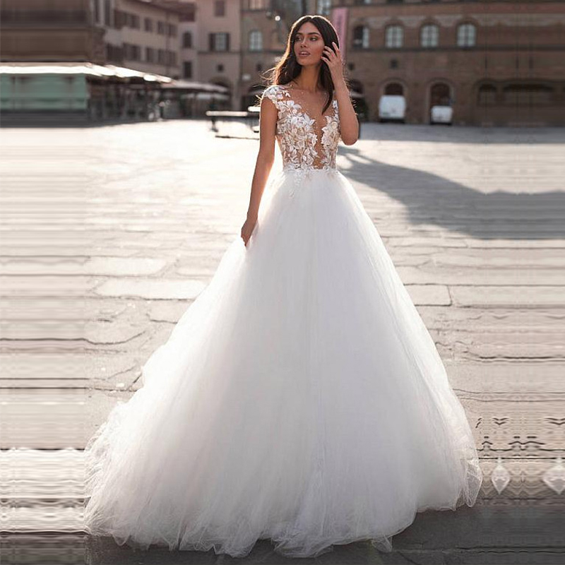 A Line Tulle Wedding Dress Cap Sleeve Lace Appliques Bridal Gown Illusion Vestido De Noiva Court Train Free Shipping Custom Made