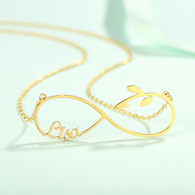 New Leaf Personalized Custom Name Necklace Stainless Steel Nameplate Choker Infinity Pendant Fit For Elegant Women Clothes(China)