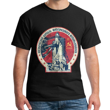 Men's T Shirt CCCP Russia Soviet Union USSR Era Space Interkosmos Boctok Rocket Buran Space ShuttleTee недорого