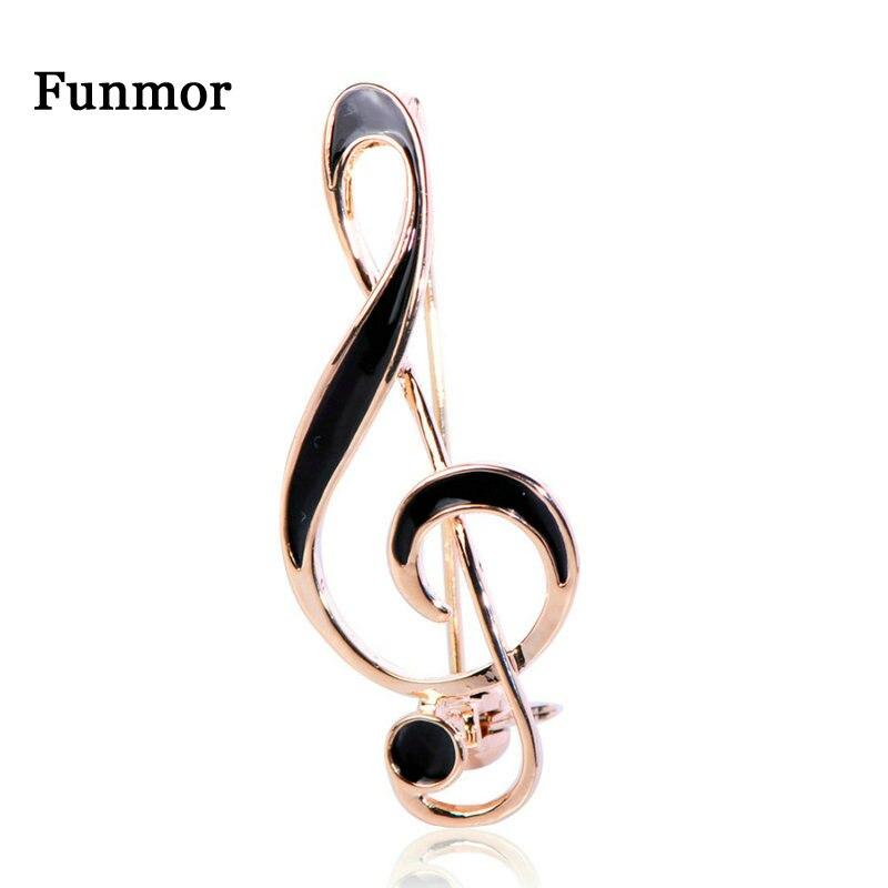 FUNMOR, простая музыкальная в форме ноты брошь золотого цвета, черная эмалированная брошка для женщин и мужчин, концертные украшения, штырьки для лацкана, подарки|Броши|   | АлиЭкспресс
