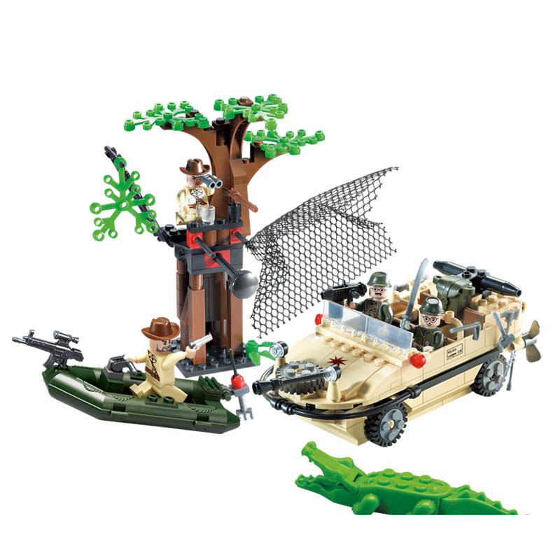 Models building toy 813 Police Amphibian Vehicle Car 272Pcs Building Blocks compatible with lego city toys & hobbies for child