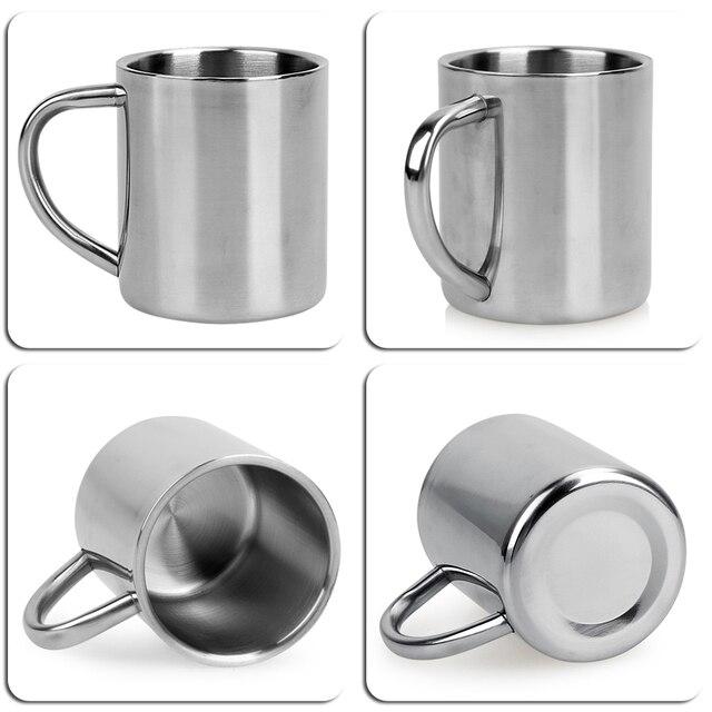 220ml Stainless Steel Mug Student Double Wall Mugs Travel Tumbler Coffee Tea Mugs Drinkware Handle Travel Cups 3