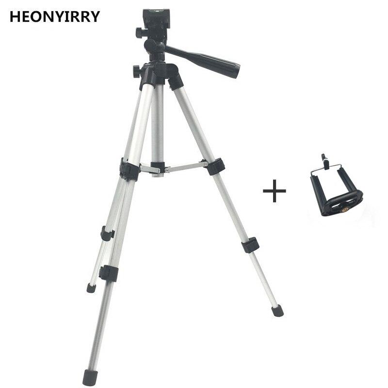 Profissional dobrável câmera tripé suporte parafuso 360 graus cabeça fluido tripé estabilizador de alumínio com suporte do telefone