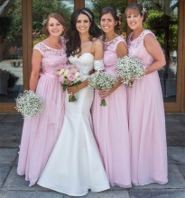 A-Line Cheap Scoop Appliques Pink Long Party Dress Chiffon Bridesmaid Dresses Under 50