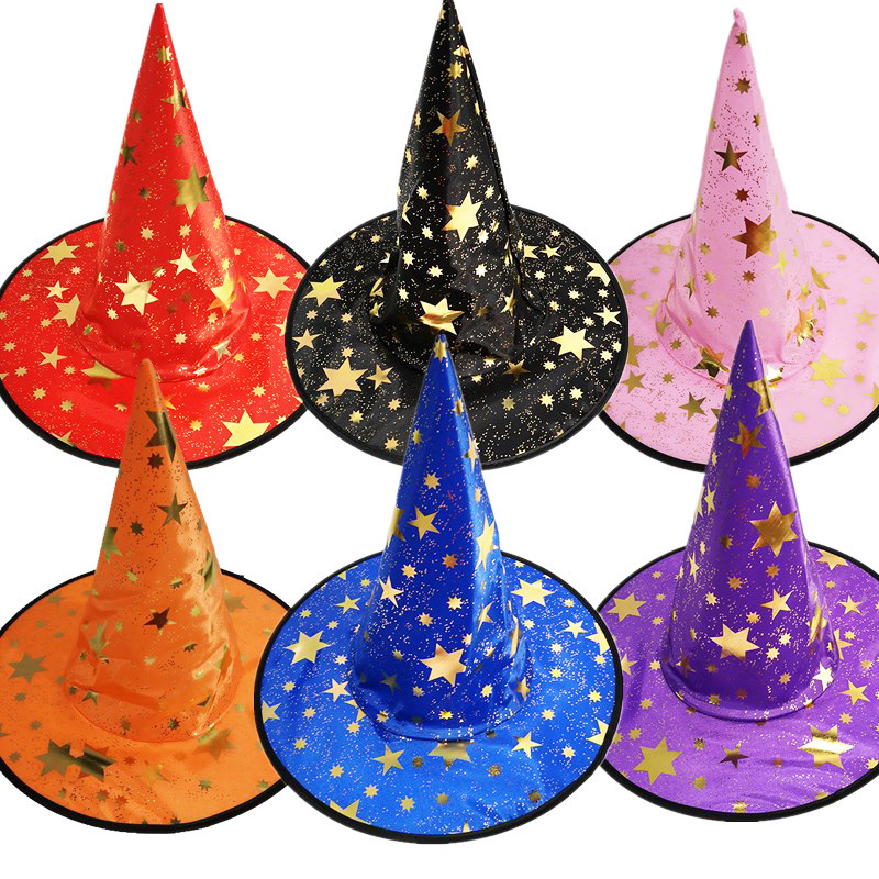 Witch Hats Masquerade Ribbon Wizard Hat Party Hats Caps Cosplay Costume Accessories Halloween Party Fancy Dress Decor Wholesale
