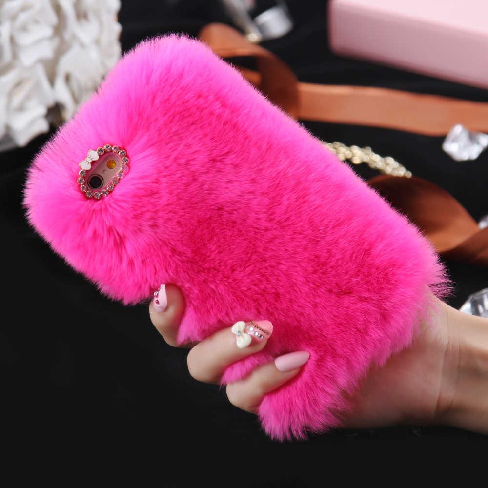 KISSCASE Kleurrijke Konijn Pluizige Bont Telefoon Gevallen Voor iPhone 11 Pro Max X 6 6S 7 8 Plus XS girly Diamond Harige Pluche Back Cover