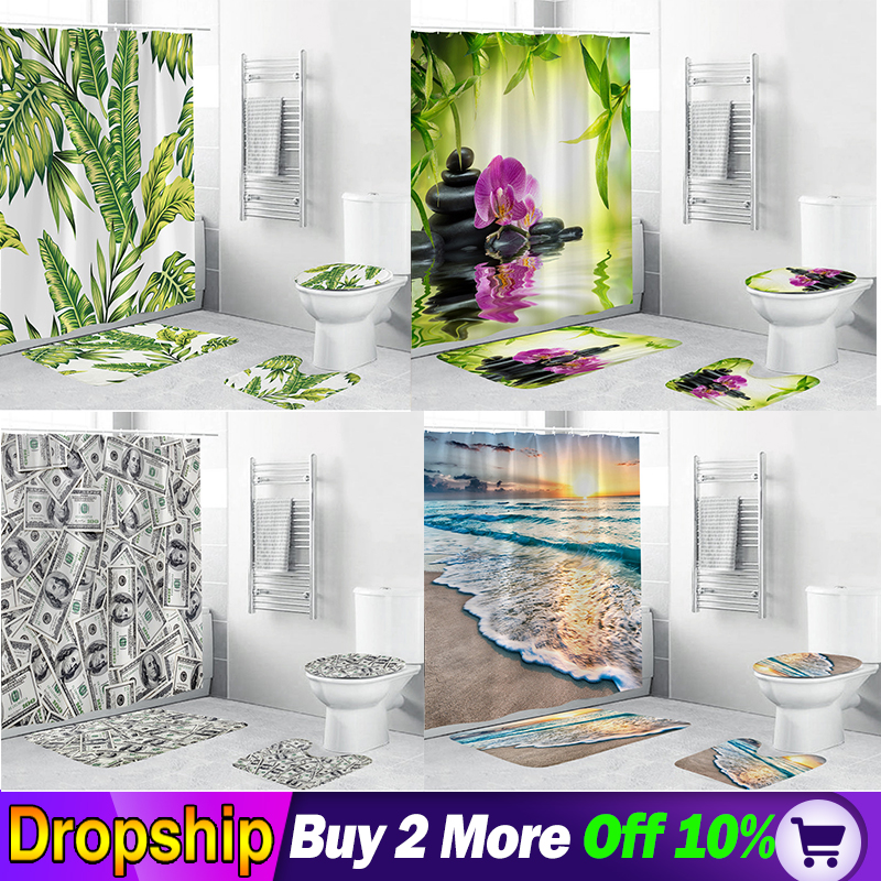 4 Pcs Dollar forest beach pineapple cactus peacockShower Curtain Pedestal Rug Lid Toilet Cover Mat Bath Mat Bathroom Decor 3D