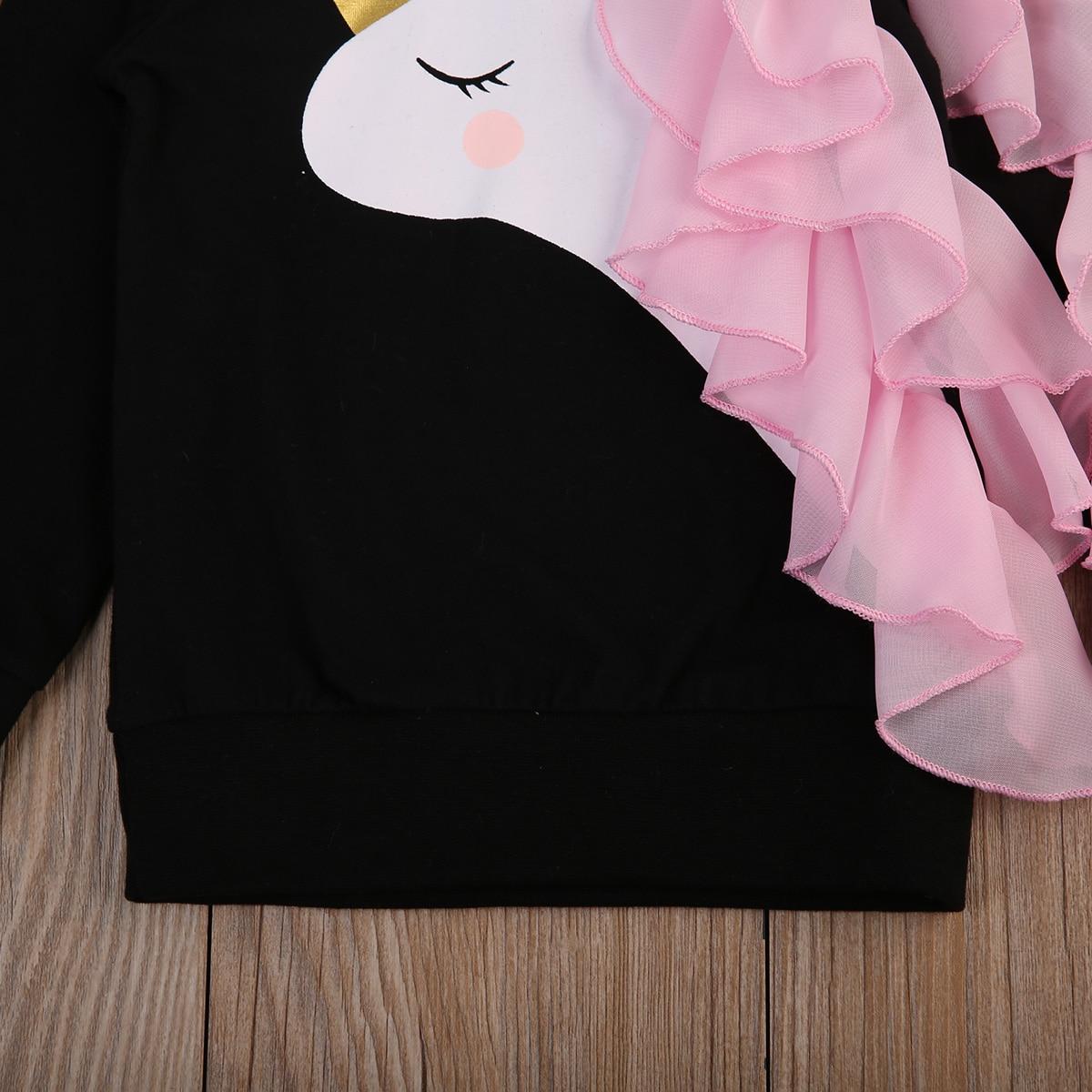 2020 Autumn Winter Kids Hoodies Baby Girls Unicorn Printed Sweatshirt Children Long Sleeve Cotton Tops Clothes 0-7 Years 5