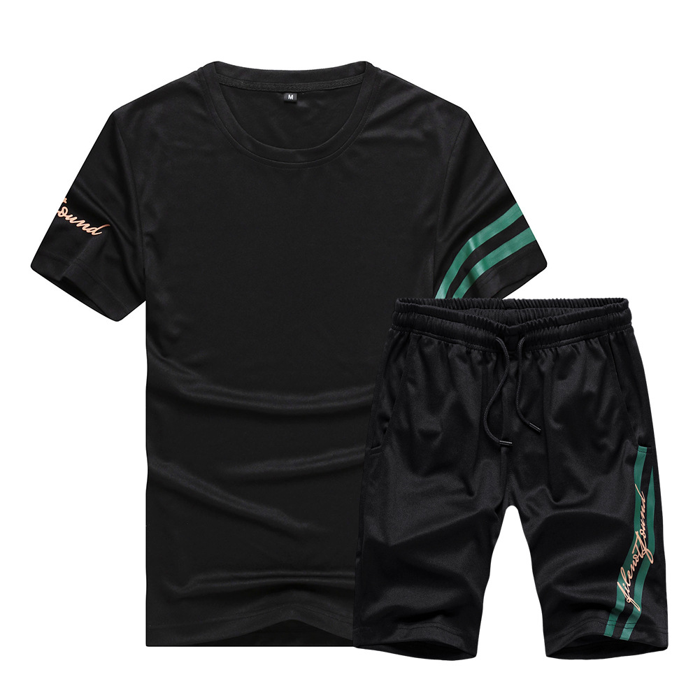 Short Sleeved Shorts Suit 2019 New Style Ouma Casual Tops T-shirt Pants Two-Piece Set Sports Running Casual Men's
