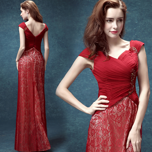 Hot Sexy Cap Sleeve Beading Red Lace Evening Dress 2015 New Design Long Prom Gowns Vestido De Festa Longo Robe De Soiree