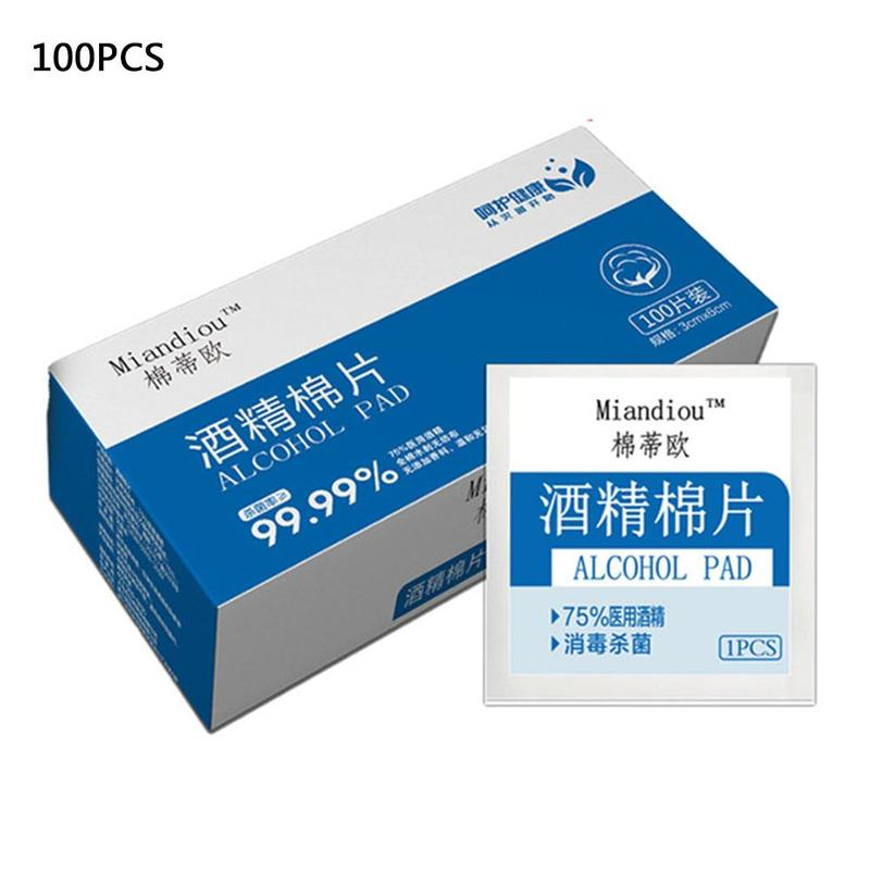100pcs Alcohol Prep Swap Pad Wet Wipe For Antiseptic Skin Cleaning Care Jewelry Mobile Phone Clean