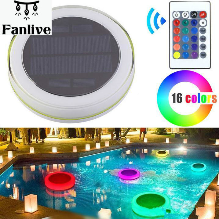 10pcs Solar LED RGB Swimming Pool Light Garden Party Bar Decoration 16 Color Changing IP68 Waterproof Pool Pond Floating Lamp