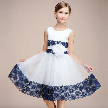 Party Formal Dress For Kids Girl Short White Navy Lace Birthday Communion Princess Gowns Flower Girl Dresses For Wedding princess birthday costumes party flower girl dresses for wedding party elegant princess girl formal dress first communion dress