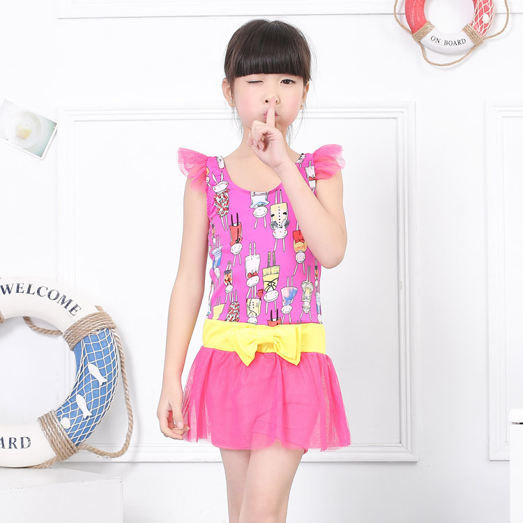 2019 New Style Princess Dress-One-piece Small Children Bubble Hot Spring Swimwear GIRL'S Baby Swimming Suit