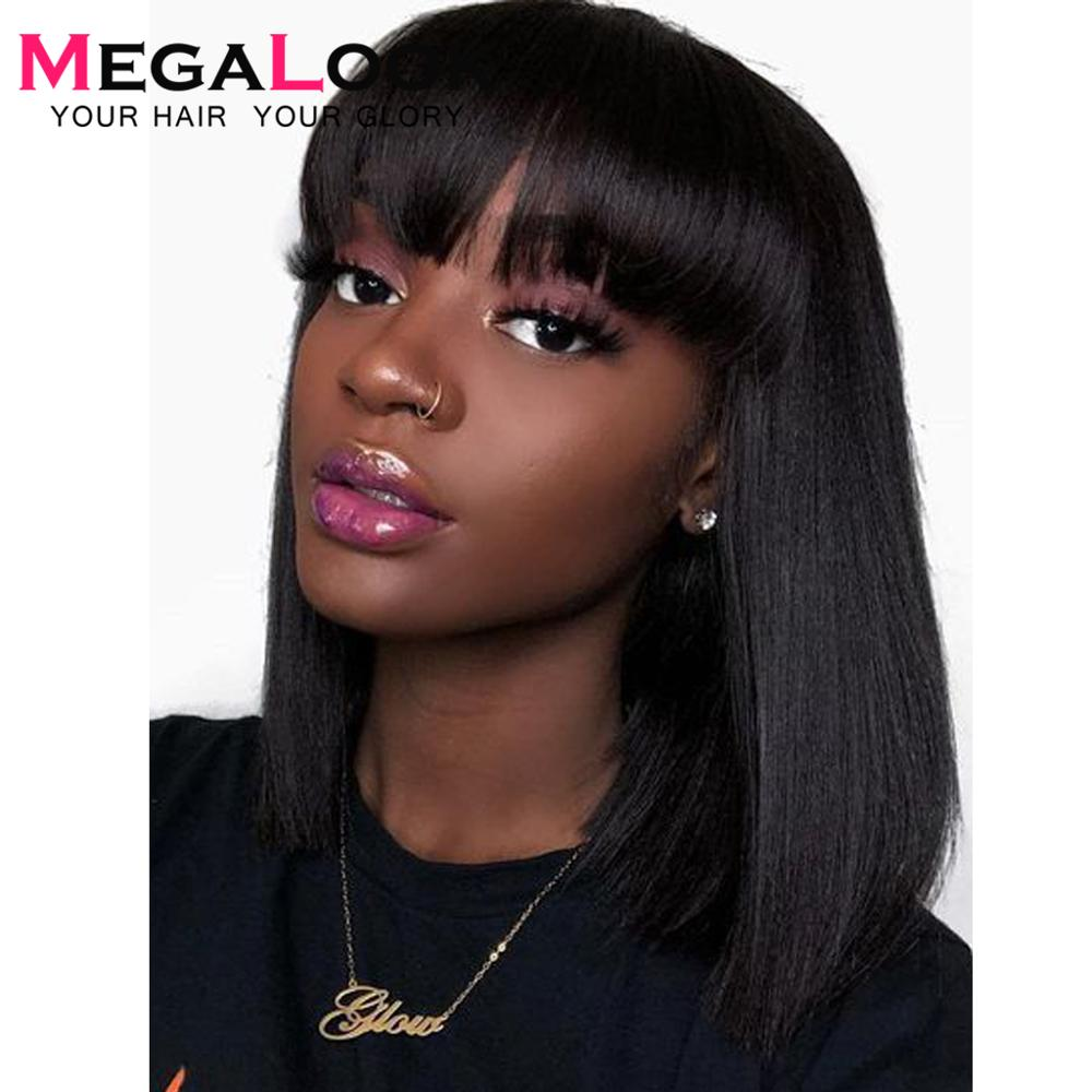 Bob Wig Brazilian Straight Short Human Hair Wigs With Bangs 180 Pre Plucked Machine Weft Remy Human Hair Wig
