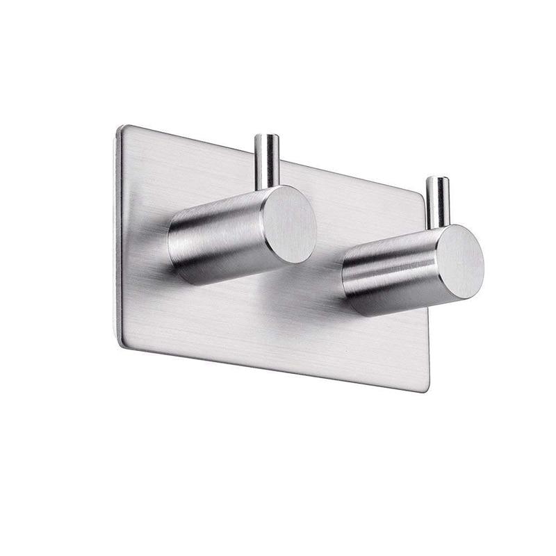 Self Adhesive Hooks Stainless Steel 2 Hook Heavy Duty Wall Hooks Bath Towel Hook Stick on Hooks For Bathroom Kitchen Home|Bathroom Hooks| |  - title=