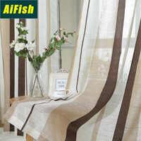 Простые Модные полосатые оконные тюлевые шторы, вуаль, занавески для гостиной, балкона, оконные шторы, домашний текстиль wp222T4