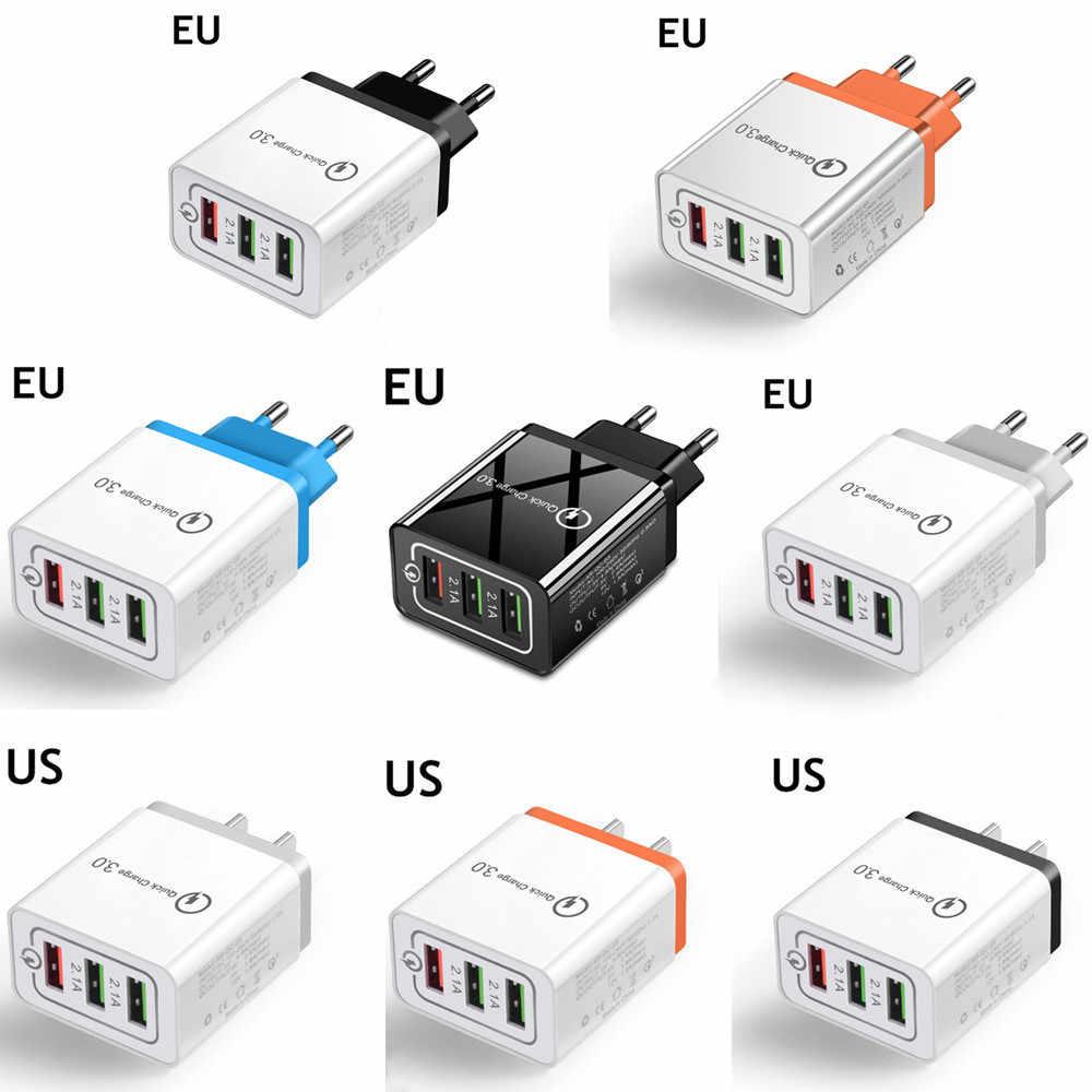Universal 3 Port USB Charger EU/US Pengisian Cepat 3.0 3A Cepat USB Charger Pengisian Cepat Kompatibel untuk iPhone samsung Xiaomi Huawei