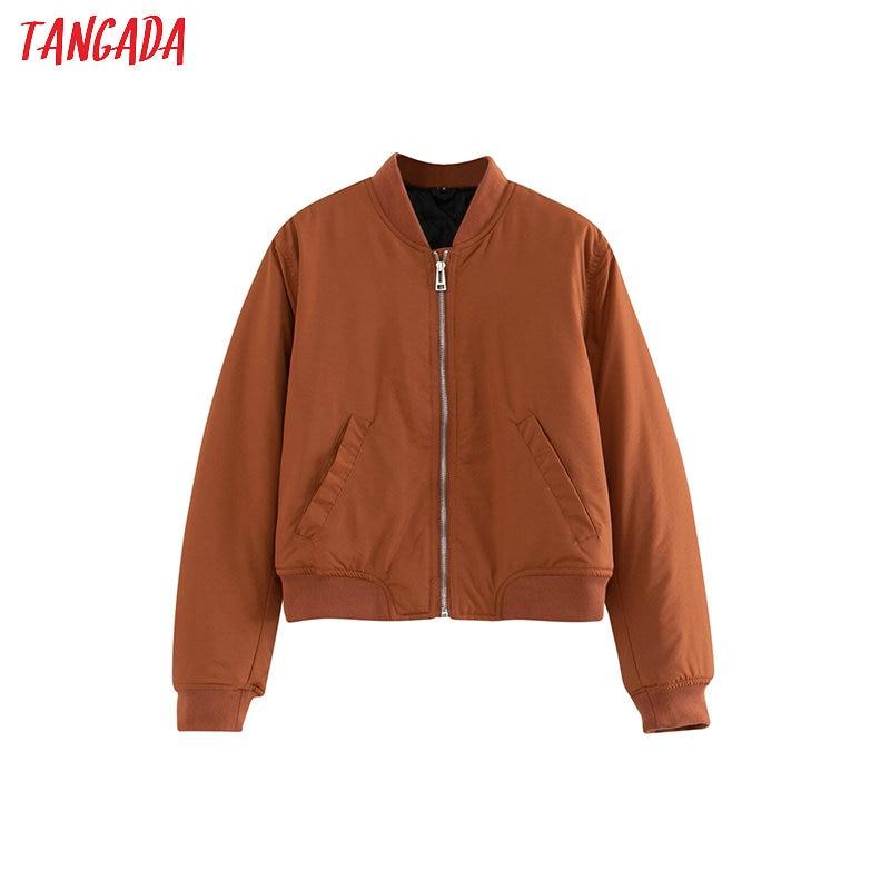 Tangada Women Spring Basic Coats Jacket Black Long Sleeves Pocket Zipper Ladies Casual Coat 4T07