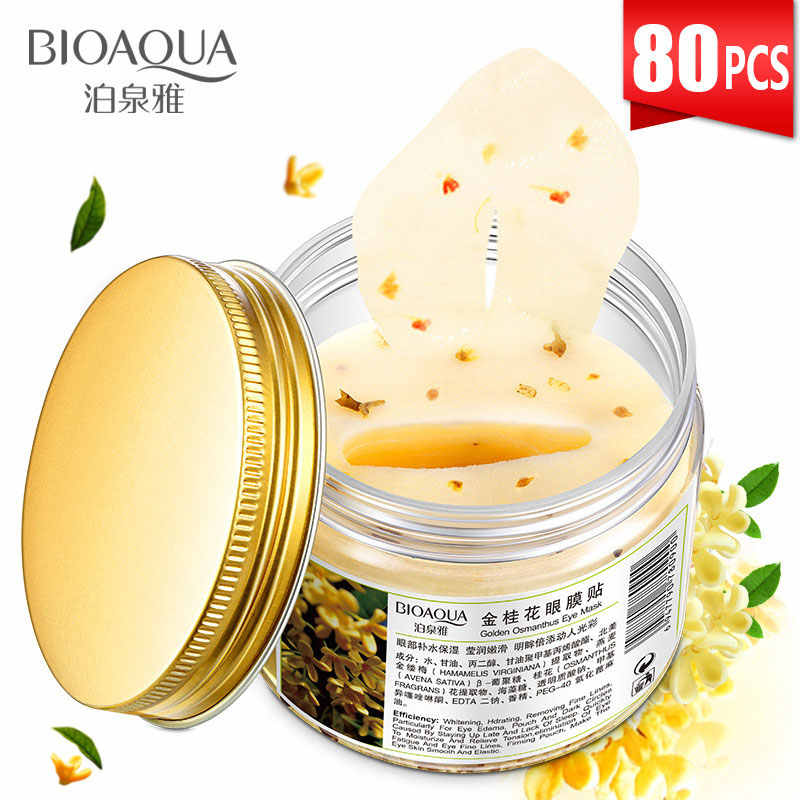 Bioaqua 80Pcs Gold Osmanthus Eye Patches Collageen Gel Eiwit Huidverzorging Remover Donkere Kringen Oogzak Masker Lifting verstevigende