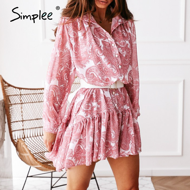Simplee Casual pink print Long-sleeve chiffon dress 2020 Autumn holiday high waist ruffle dress Office lady women dress vestidos