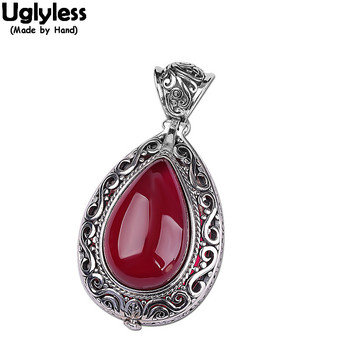 Uglyless Opening Water Drop Box Pendants Women Vintage Picture Folder Necklaces NO Chains 925 Silver Jewelry Thai Silver Bijoux
