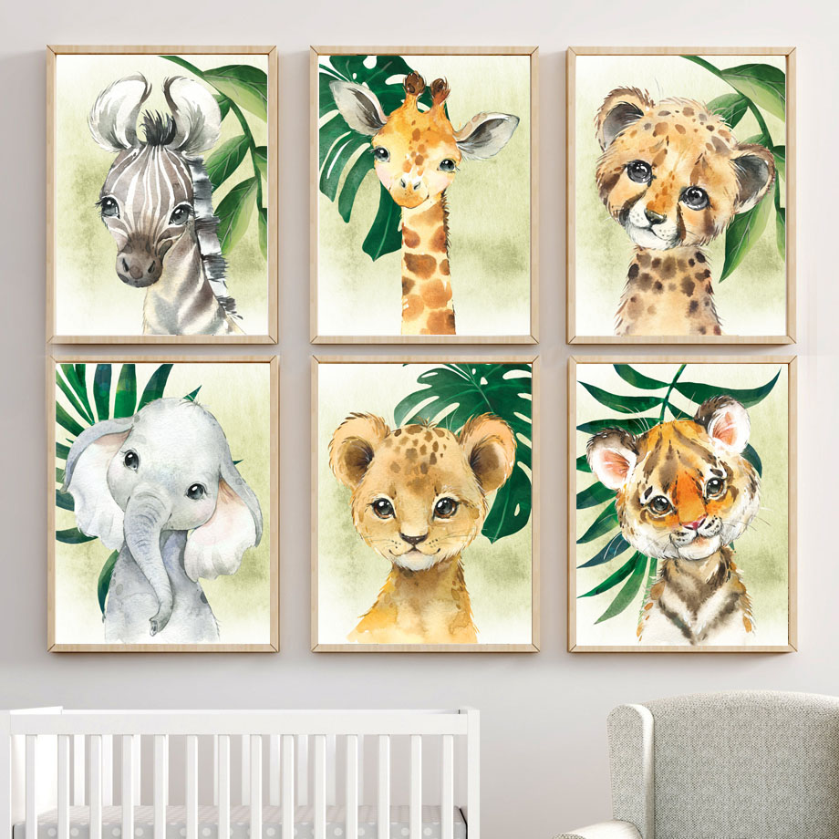 Lion Giraffe Zebra Tropical Leaf Jungle Animals Nordic Posters And Prints Wall Art Canvas Painting Wall Pictures Kids Room Decor