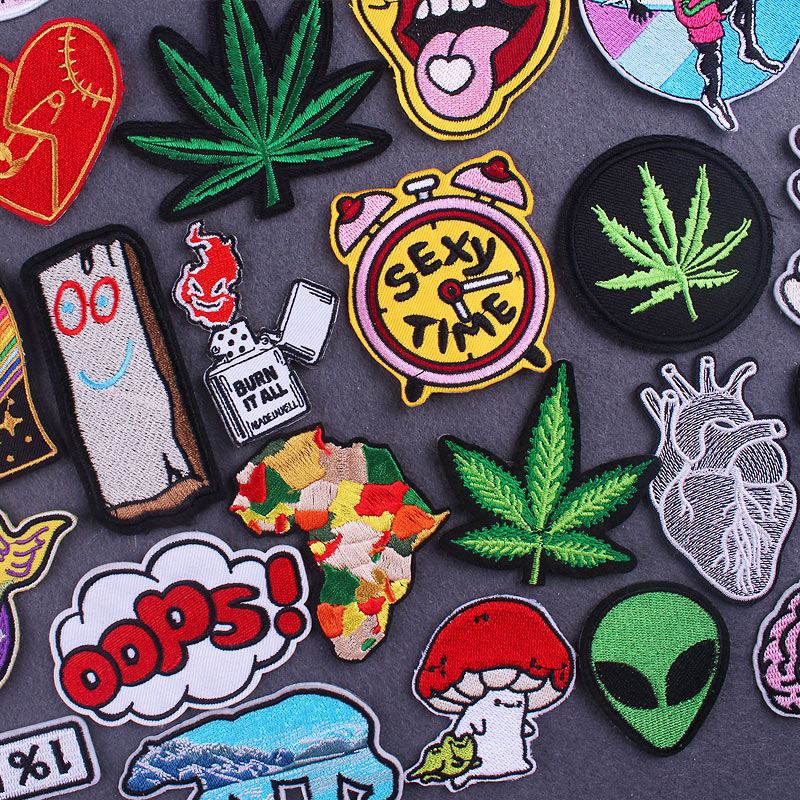 Hippie Patches On Clothes Cartoon Stickers Iron On Patches For Clothing Thermoadhesive Patches Cute Mushroom Leaf Cloth Patch