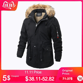 Winter Jacket Men Parka Faux Fur Collar Thick Warm Cotton Parkas Jacket Coat Men Hooded Pockets Outwear Winderbreaker Parka 2020 parka winter women jacket fur collar hooded winter warm thick short parka winter coat outwear jacket