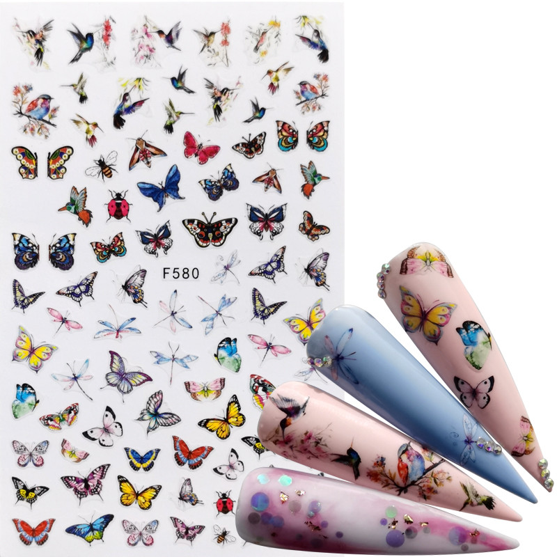 1 PC Mix Butterfly 3D Nail Sticker Adhesive Sliders Wraps Tips Charm Art Manicure Decorations